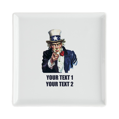 [Your text] Uncle Sam Square Cocktail Plate