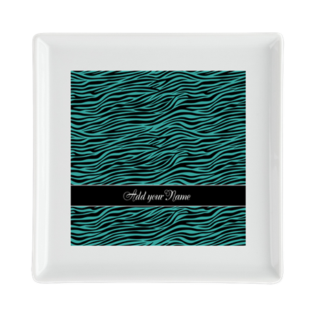 teal zebra pattern Square Cocktail Plate