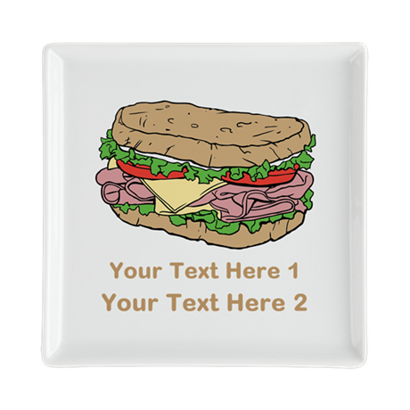 Sandwich. Custom Text. Square Cocktail Plate