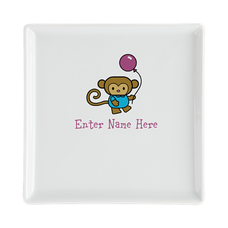 Personalized Monkey Square Cocktail Plate