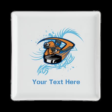 Ice Hockey. Custom Blue Text. Square Cocktail Plat