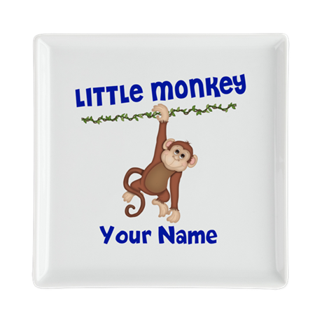 Monkey Boy Kids Personalized Square Cocktail Plate