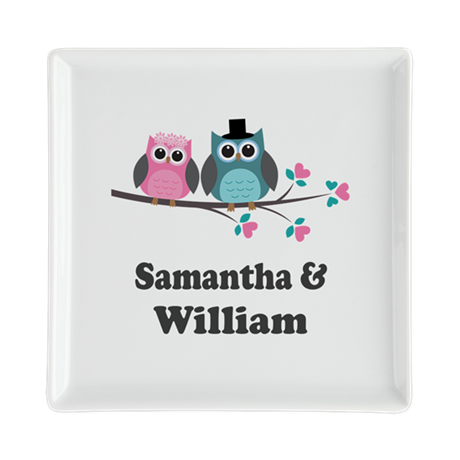 Personalized Bride Groom Owls Square Cocktail Plat