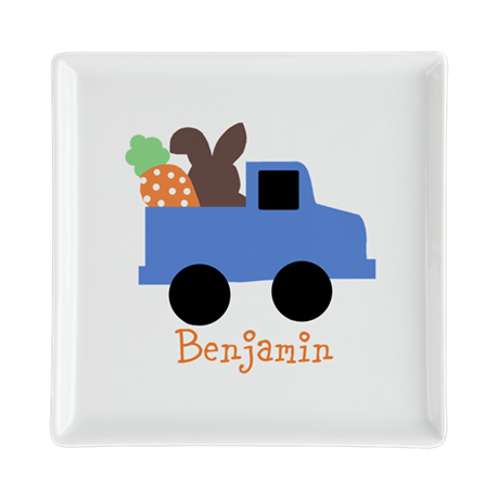 Easter time truck personalized Square Cocktail Pla