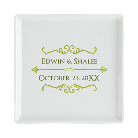 Personalized Anniversary Gift Square Cocktail Plat