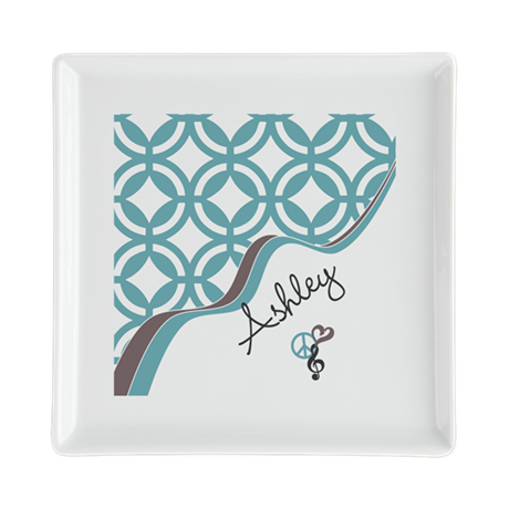 Custom Name Pattern Square Cocktail Plate