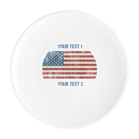 Vintage American Flag Round Cocktail Plate