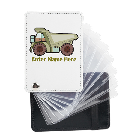 Personalized Dump Truck Leather Card Holder