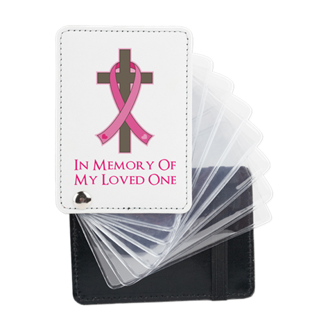 In Memory Cross Leather Card Holder