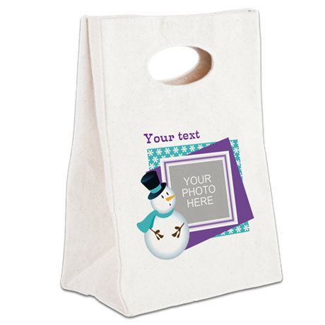 Personalized Christmas Snowman Canvas Lunch Tote