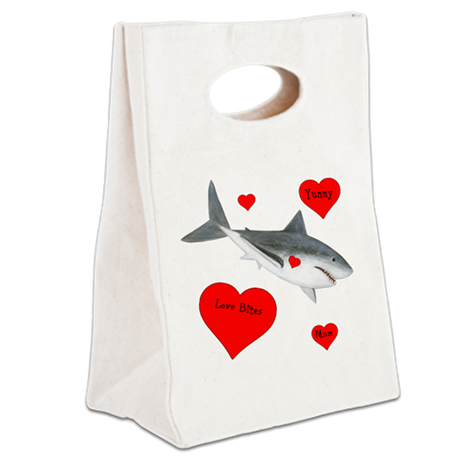 Personalized Shark Valentine Canvas Lunch Tote
