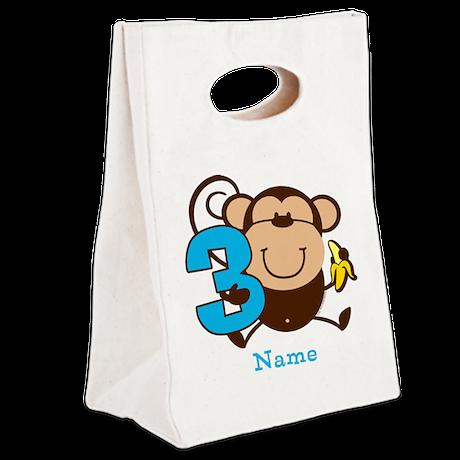 Personalized Monkey Boy 3rd Birthday Canvas Lunch