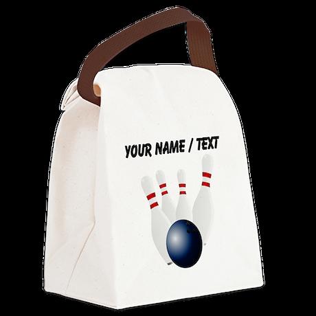 Custom Bowling Pins Canvas Lunch Bag