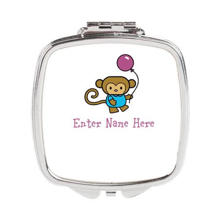 Personalized Monkey Square Compact Mirror