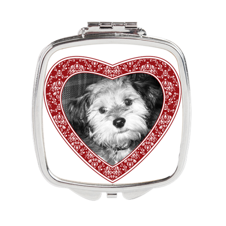 red heart damask frame Square Compact Mirror