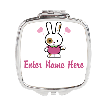 Personalized Bunny Square Compact Mirror