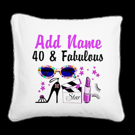 HAPPY 40TH BIRTHDAY Square Canvas Pillow