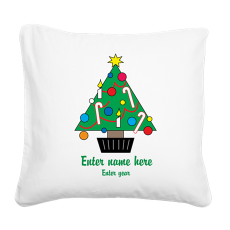 Personalized Christmas Tree Square Canvas Pillow
