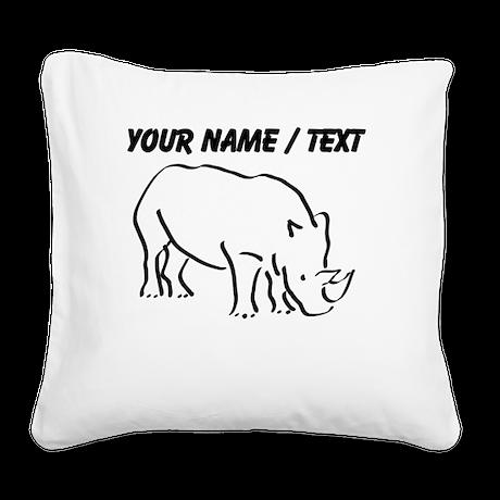 Custom Rhinoceros Drawing Square Canvas Pillow