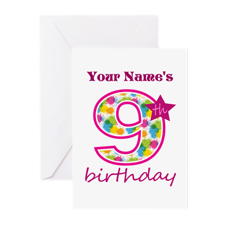 9th Birthday - Personalized! Greeting Cards (Pk of