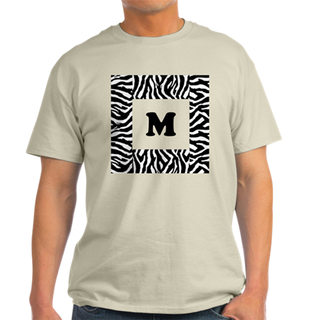 Zebra Print. Custom Letter. Light T-Shirt