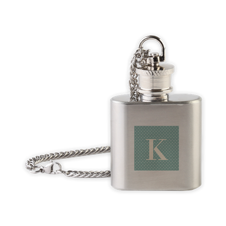 K Initial on Blue Flask Necklace
