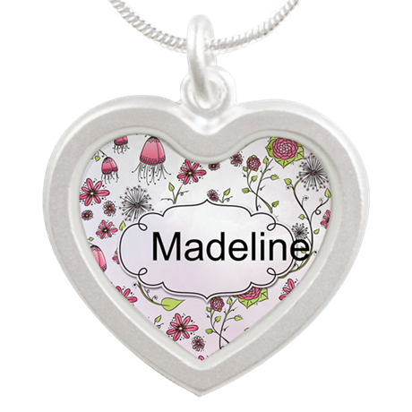 Whimsical flowers with text frame Silver Heart Nec