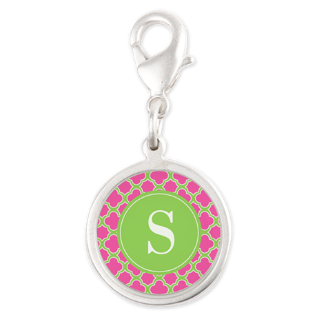 Quatrefoil Pink and Lime Green with Monogram Charm