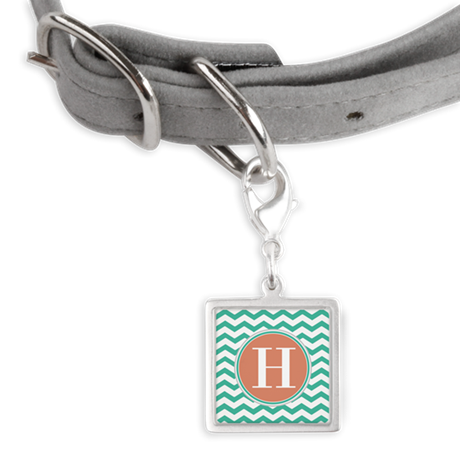 Any Letter, Coral Teal Chevro Small Square Pet Tag