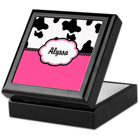 Cow Print Pink Personalized Keepsake Box