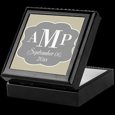Modern Wedding Monogram - gray linen Keepsake Box