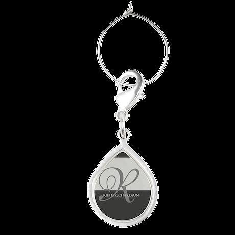 Elegant Custom Monogram Teardrop Wine Charm