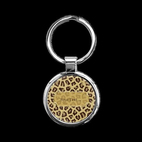Brown Big Cat Fur Round Keychain