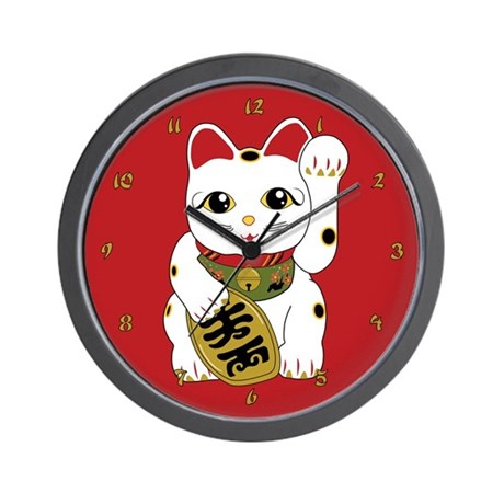 Maneki Neko Cat Wall Clock