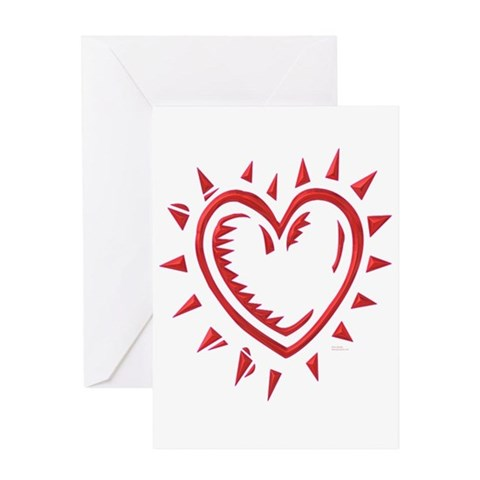 Red Chrome Heart Greeting Card