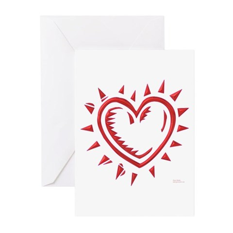 Red Chrome Heart Greeting Cards Pk of 20
