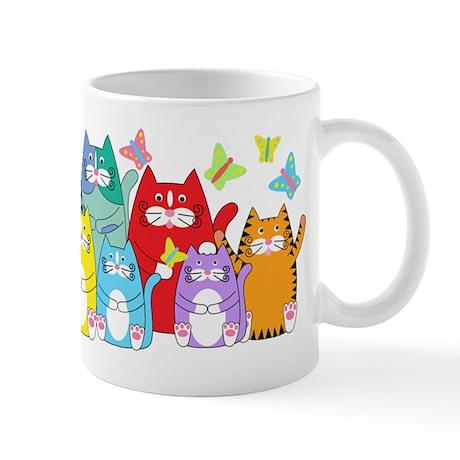 Colorful Kitty Cats & Butterflies Mug