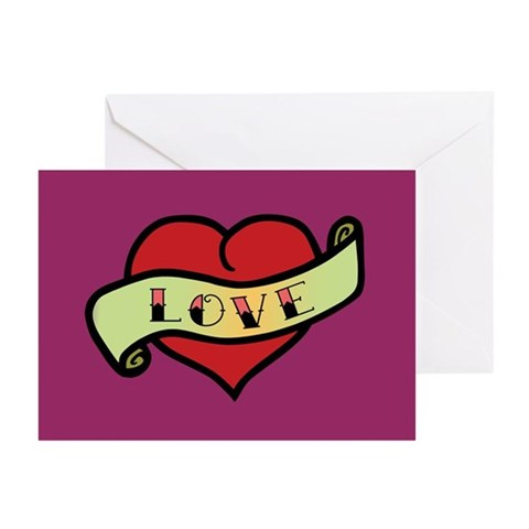 Love Tattoo Heart Greeting Cards (Pk of 10)