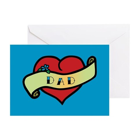 Dad Tattoo Heart Greeting Cards Pk of 10