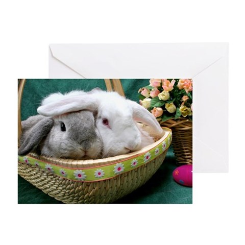 Two super cute bunnies in a basket