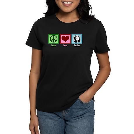 Peace Love Pandas Women's Dark T-Shirt