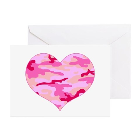 Pink Camo Heart Greeting Cards (Pk of 10)