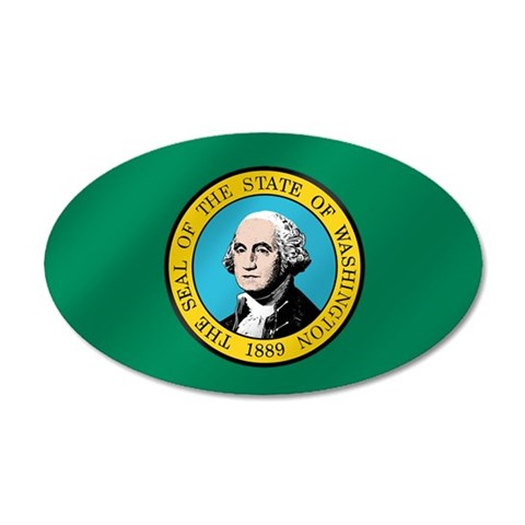 Washington State Flag 38.5 x 24.5 Oval Wall Peel 35x21 Oval Wall Decal