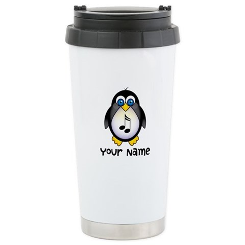 Personalized Music Penguin Travel Mug