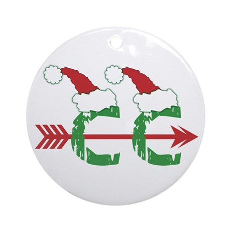 Cross Country Christmas Holiday Ornament (Round)