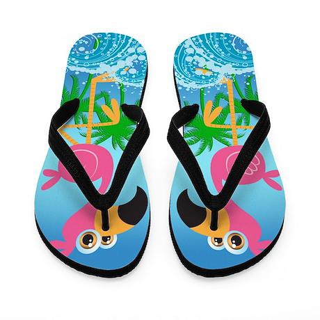 Flamingo Paradise Flip Flops