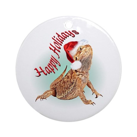Bearded Dragon Santa Ornament (Round)