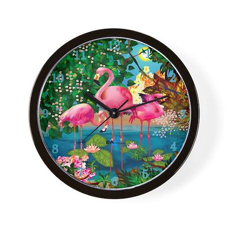 Flamingo Paradise Clock