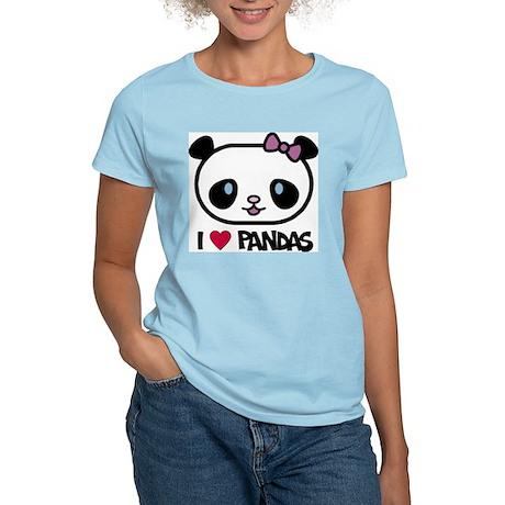 I Love Pandas Women's Pink T-Shirt
